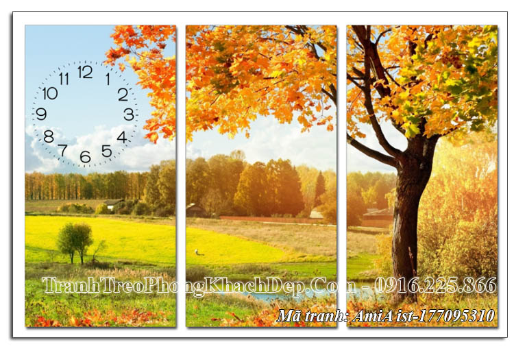 Tranh cây lá vàng mùa Thu 3 tấm AmiA 177095310