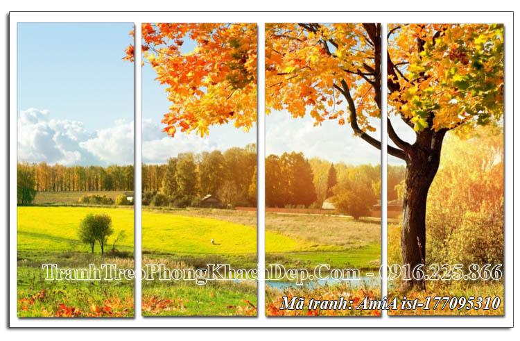 Tranh mùa Thu lá vàng 4 tấm AmiA 177095310