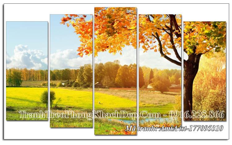 Tranh phong cảnh cây lá vàng mùa thu 5 tấm AmiA 177095310