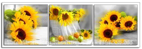 Tranh 3 tấm hoa hướng dương AmiA OP11967238