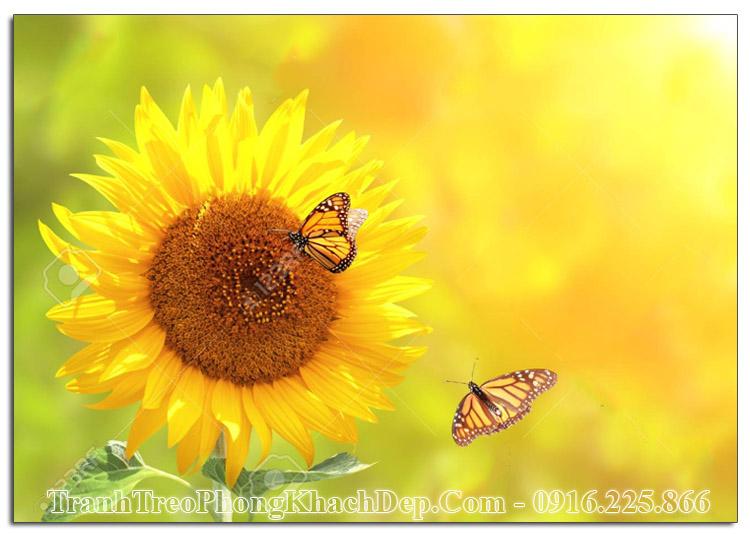 Tranh AmiA ist911762038 hoa hướng dương và đôi bướm