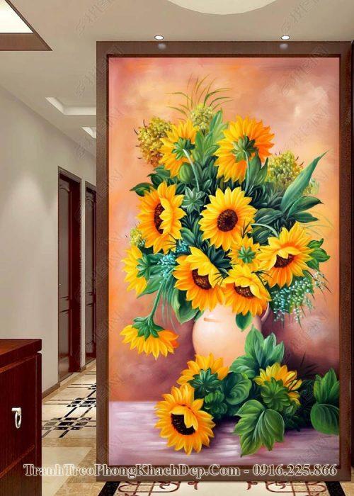 Tranh AmiA op15633095 tranh khổ đứng bình hoa hướng dương
