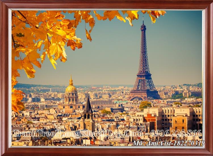 Tranh treo phòng khách khổ lớn AmiA 82270319 phong cảnh mùa Thu tháp Eiffel