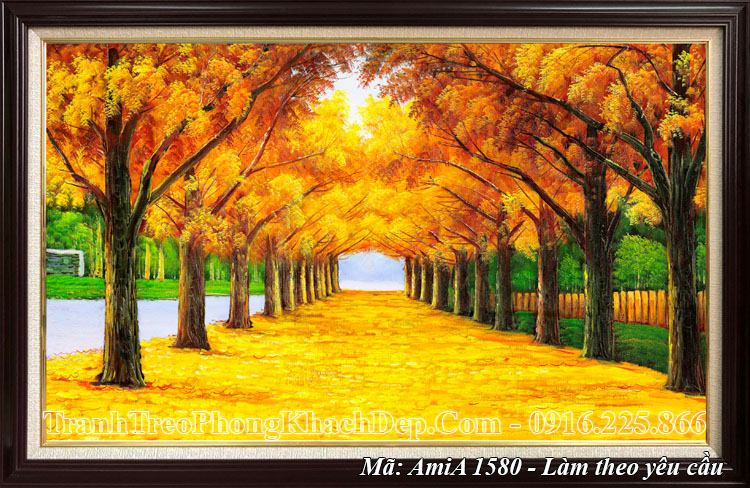 Tranh amia 1580 mùa thu làm một tấm có khung