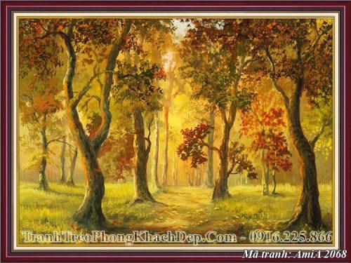 Tranh khu rừng khổ nhỏ AmiA 2068 mùa thu