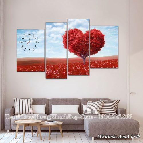 Tranh treo phòng khách Amia 1506 đồi hoa trái tim mùa Thu
