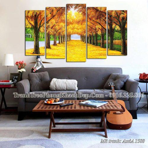 Tranh mùa thu hàng cây lá vàng Amia 1580 ghép 5 tấm