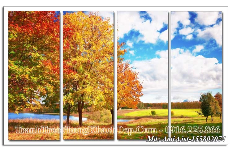 Tranh Amia 155802074 cảnh đẹp mùa Thu 4 tấm