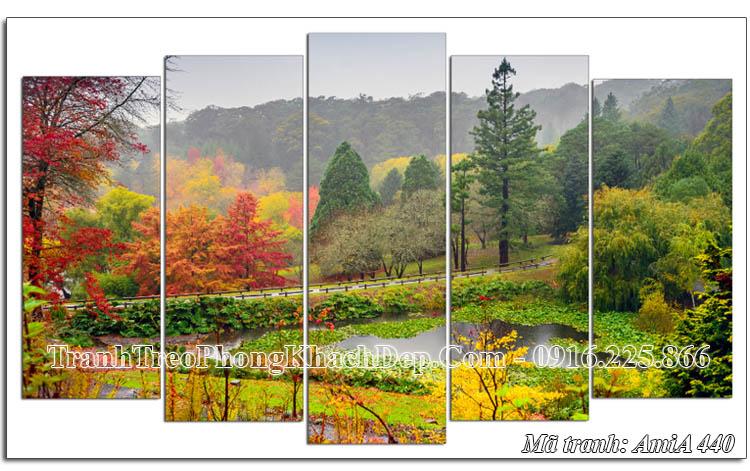 Tranh đẹp mùa Thu AmiA 440 ghép 5 tấm