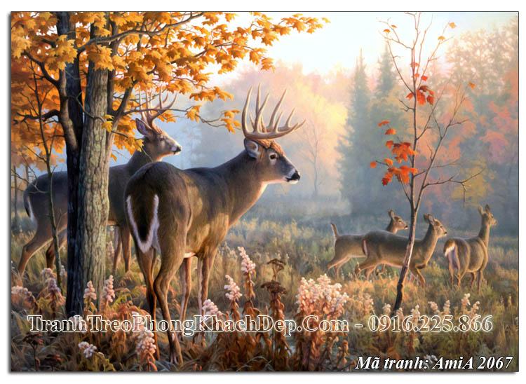 Tranh khu rừng mùa Thu AmiA 2067 treo ở phòng khách