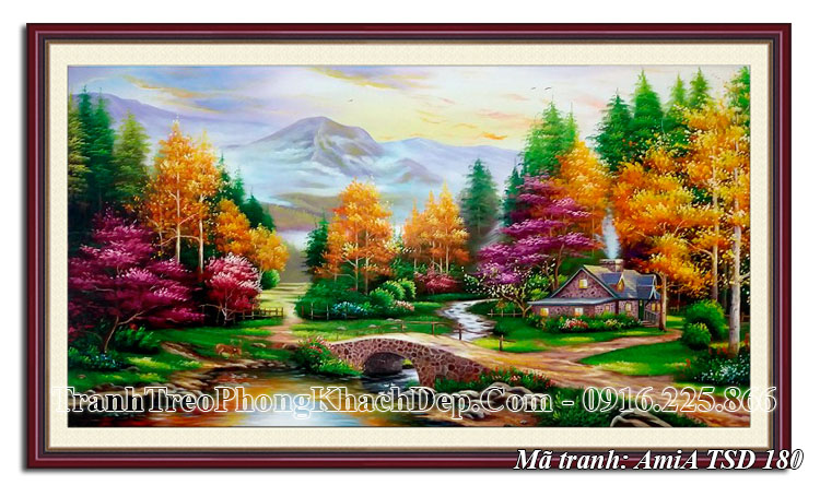 Tranh rừng cây mùa Thu phong cảnh đẹp sơn dầu Amia TSD 180