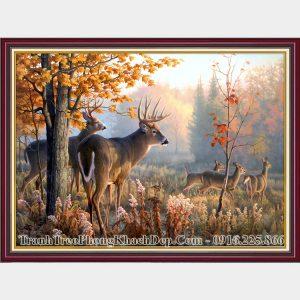 Tranh amiA 2067 rừng cây mùa Thu và đàn nai