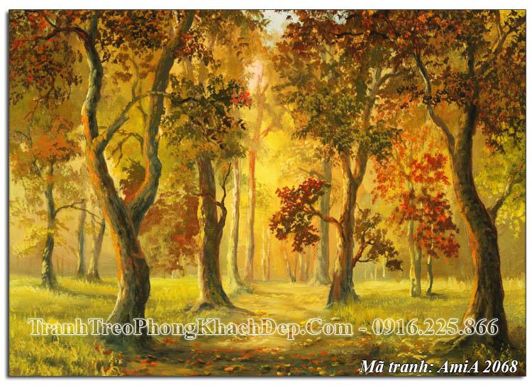 Tranh phong cảnh rừng cây mùa Thu AmiA 2068