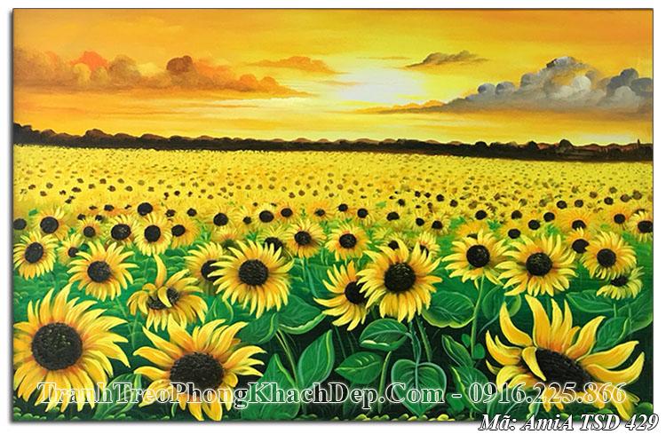 Tranh vẽ hoa hướng dương sơn dầu Amia 429