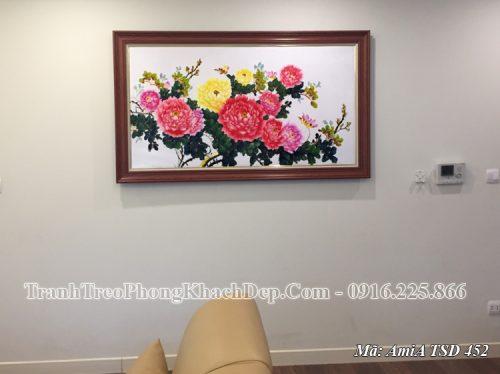 Tranh vẽ sơn dầu hoa mẫu đơn treo nhà khách chung cư