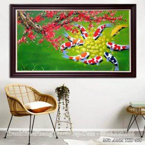 Tranh cá chép hoa đào Tết vẽ sơn dầu AmiA TSD 458