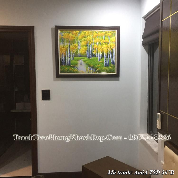 Tranh sơn dầu khổ nhỏ mùa Thu rừng cây lá vàng TSD 367B