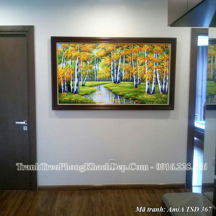 Tranh mùa Thu vàng rừng cây suối vàng Amia TSD 367