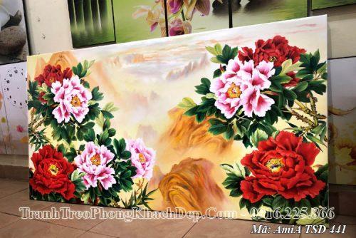 Tranh sơn dầu Amia 441 vẽ 9 bông hoa mẫu đơn