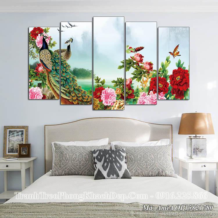 Tranh AmiA OP15821780 treo đầu giường phòng ngủ đôi chim công
