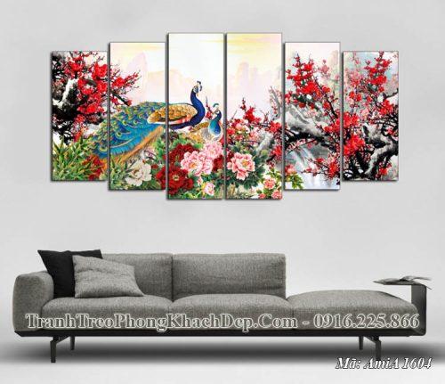 Tranh chim công hoa mẫu đơn treo phòng khách amia 1604