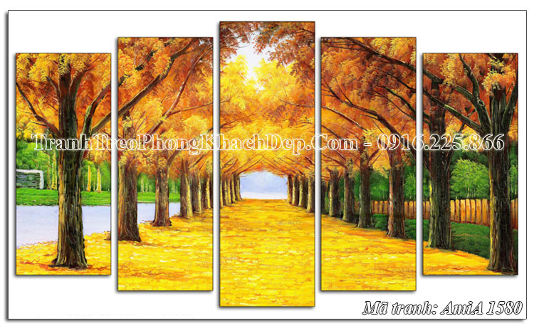 Tranh phong cảnh mùa thu lá vàng treo phòng khách AmiA 1580