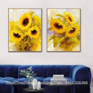 Tranh ghép 2 tấm khung hoa hướng dương treo phòng khách