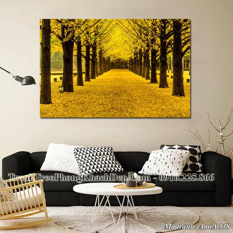 Tranh hàng cây mùa Thu lá vàng amia 338