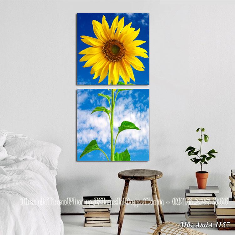 Tranh AmiA 1157 hoa hướng dương treo tường khổ dọc