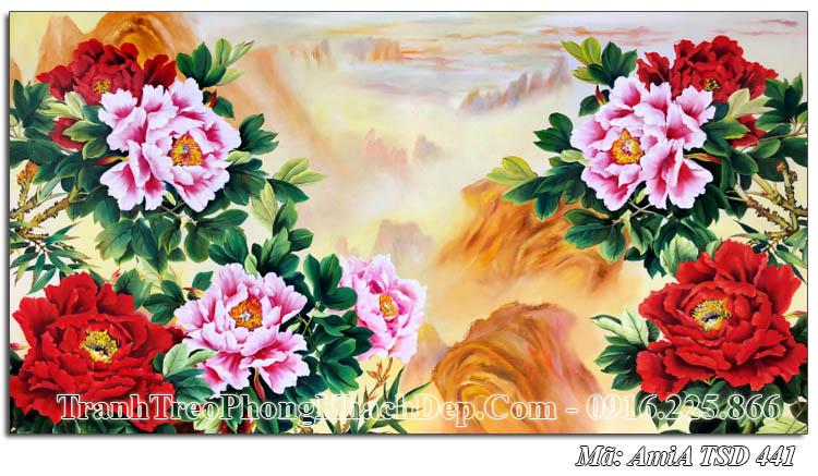 Tranh vẽ 9 bông hoa mẫu đơn TSD 441