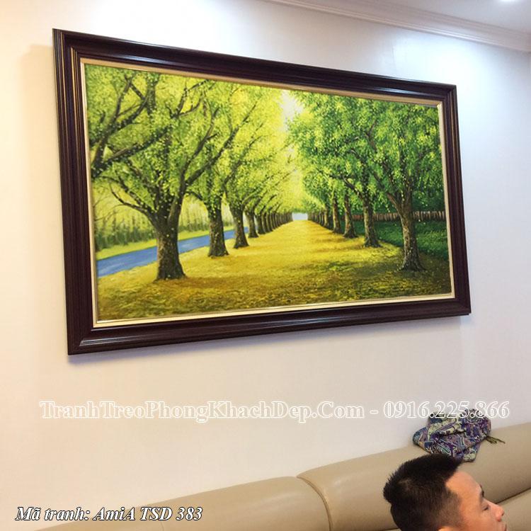 Tranh sơn dầu vẽ hàng cây lá vàng mùa Thu AmiA TSD 383