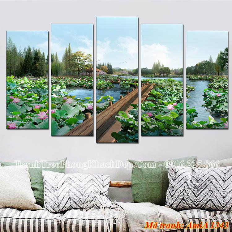 Tranh treo phòng khách đẹp AmiA 1343 phong cảnh hồ Sen