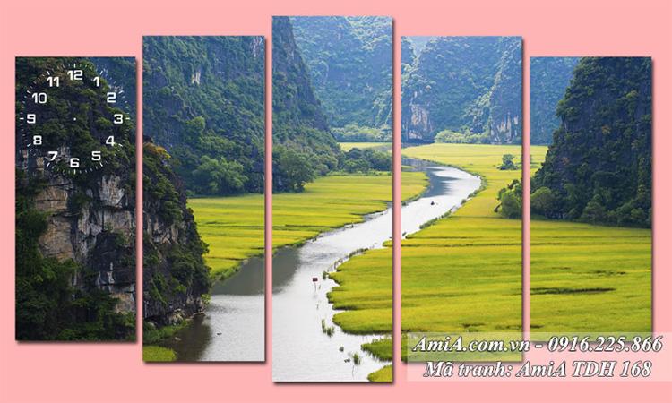 Tranh quê hương đất nước AmiA 168 ghép 5 tấm