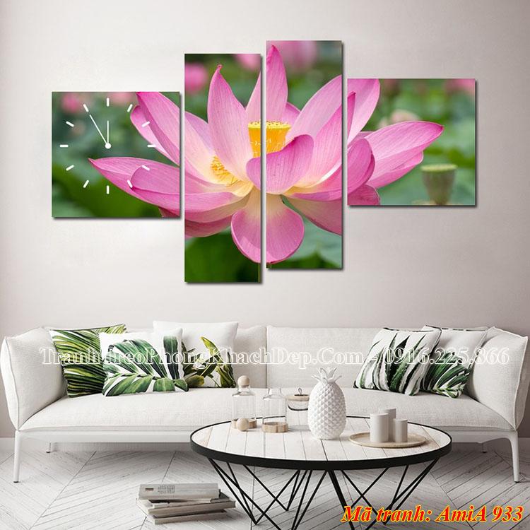 Tranh hoa Sen đẹp nhất AmiA 933 treo phòng khách