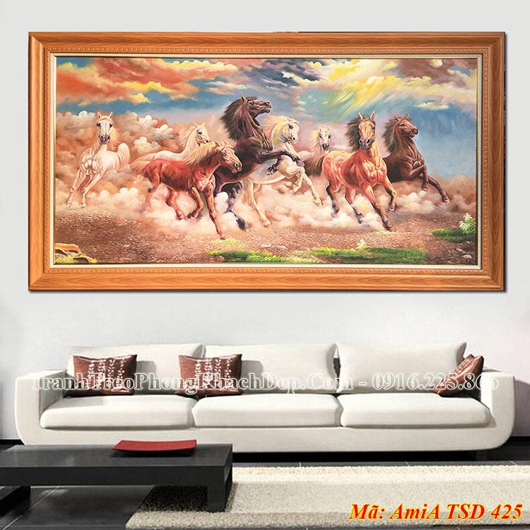 Tranh bát mã sơn dầu treo phòng khách đẹp nhất AmiA 425