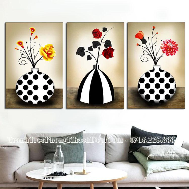 Tranh đẹp treo phòng khách bình hoa đen trắng AmiA 1116
