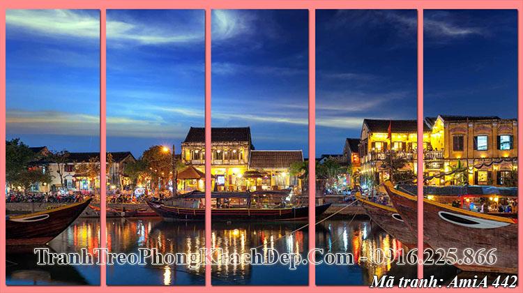 Tranh AmiA 442 ghép bộ 5 tấm cảnh đẹp quê hương hội an