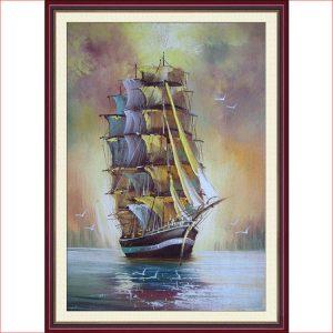 Tranh thuyền buồm Amia 857 giả sơn dầu