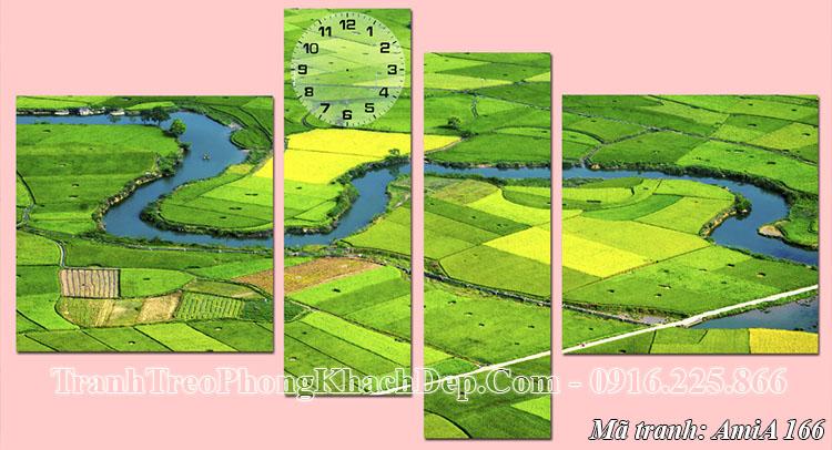 Tranh phong cảnh quê hương AmiA 166 đồng xanh