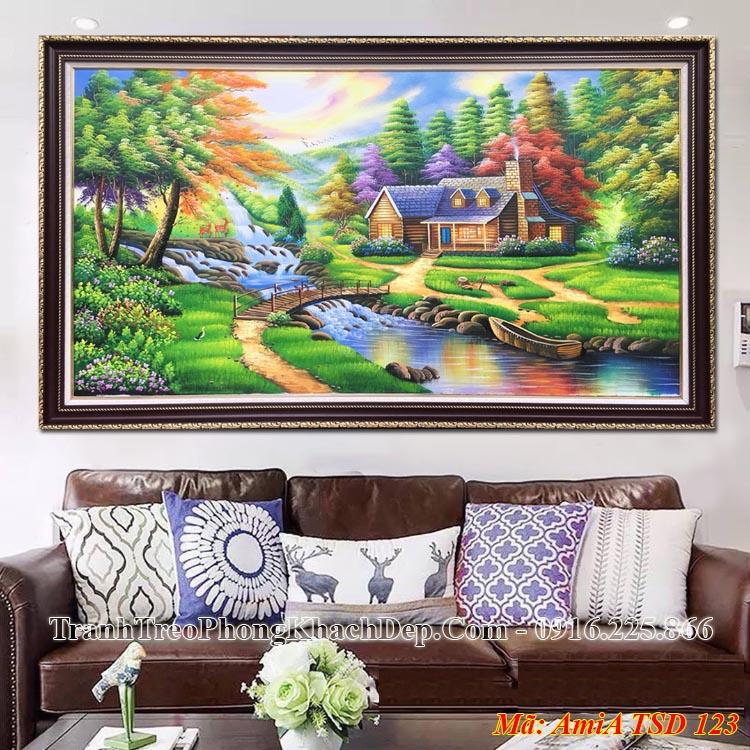 Tranh sơn dầu treo phòng khách đẹp nhất AmiA 123