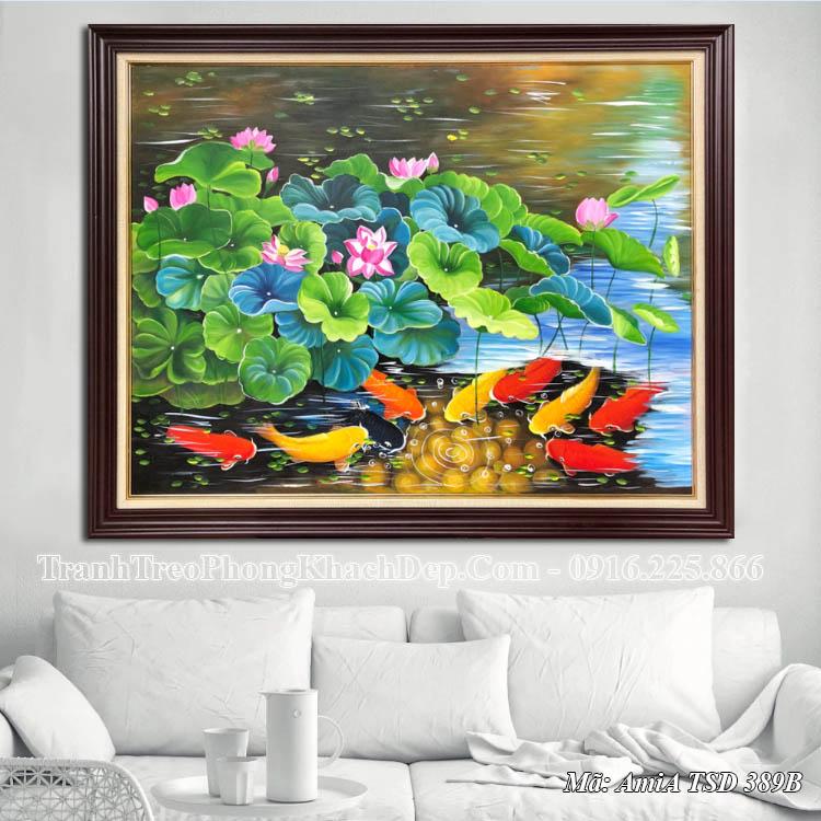 Tranh sơn dầu khổ nhỏ cá chép hoa sen mã 389B