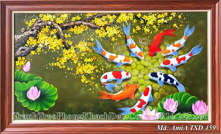 Tranh vẽ cá chép hoa mai vàng sơn dầu AmiA 459