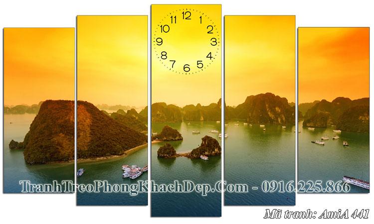 Tranh ghép 5 tấm AmiA 441 Vịnh Hạ Long