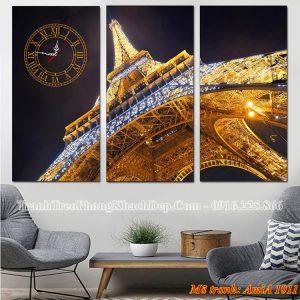 Tranh đồng hồ tháp Epphen AmiA 1011 treo phòng khách đẹp