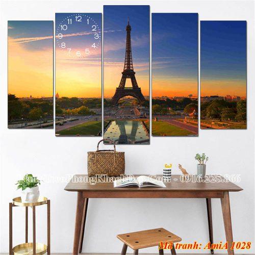 Tranh khổ lớn treo phòng khách AmiA 1028 tháp Eiffel
