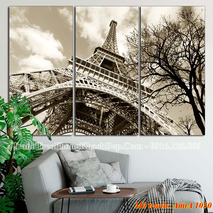 Tranh đen trắng AmiA 1030 tháp Eiffel