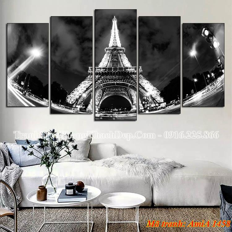 Tranh tháp Eiffel AmiA 1458 treo phòng khách đẹp