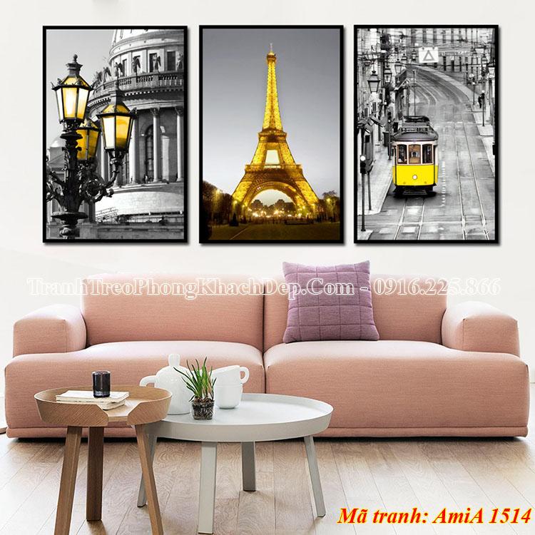 Tranh tháp Eiffel 3 tấm treo ở phòng khách AmiA 1514
