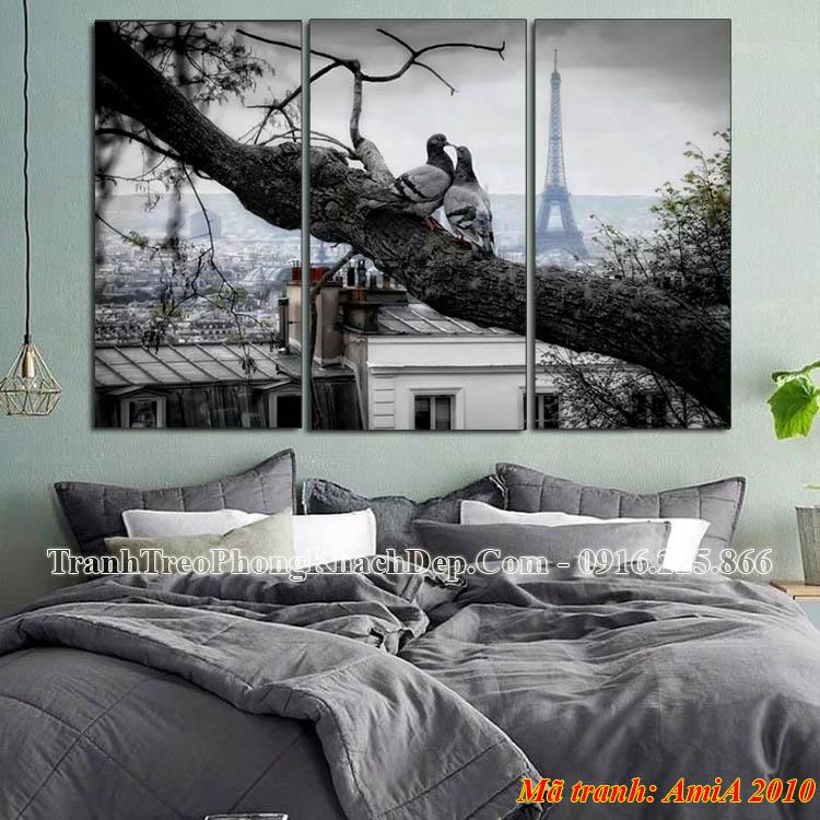 Tranh chim bồ câu tháp Eiffel AmiA 2010 treo phòng ngủ