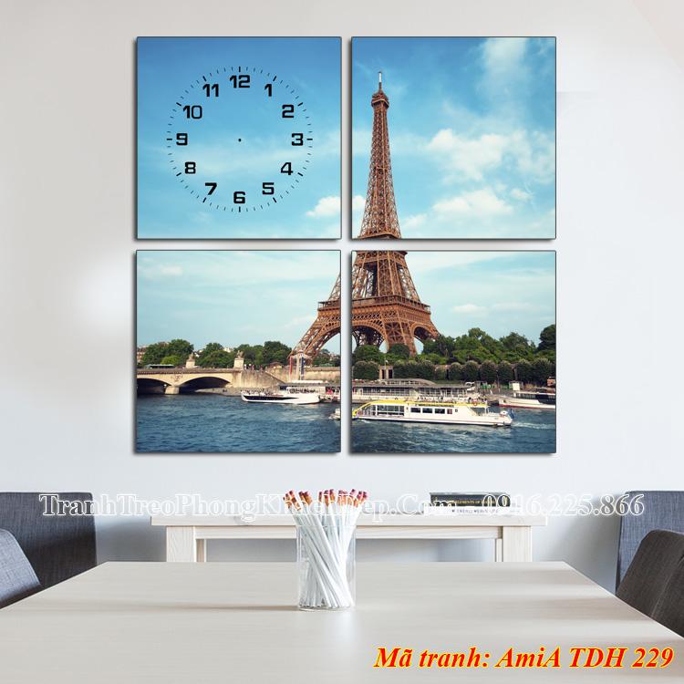 Tranh đồng hồ tháp eiffel AmiA 229 ghép 4 tấm